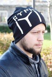 Göktürkçe Türkçe Yazılı ve Kayı Boyu Siyah Renk Erkek Bere
