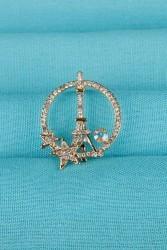Gold Eyfel Kulesi Parlak Taş Detaylı Bayan Broş - Thumbnail