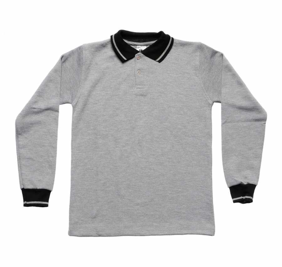 Kid's Polo Collar Grey Combed Cotton Sweatshirt
