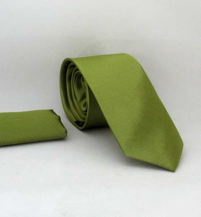 Plain Henna Green Slim Fit Satin Handkerchief Tie Set