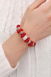 Kırmızı & Sarı Kaplama Boncuklu Kristal Taşlı Bayan Bileklik Modeli