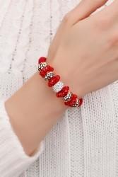 Kırmızı & Sarı Kaplama Boncuklu Kristal Taşlı Bayan Bileklik Modeli - Thumbnail
