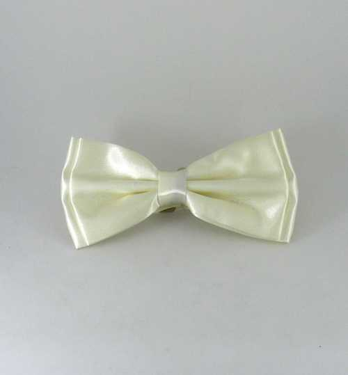 Boy's Plain Cream Satin Bow Tie