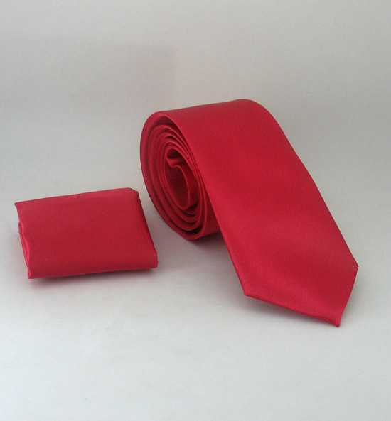 Plain Vermilion Satin Handkerchief Slim Fit Tie