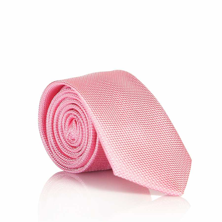 Men's Plain Pink Woven Slim Fit Tie