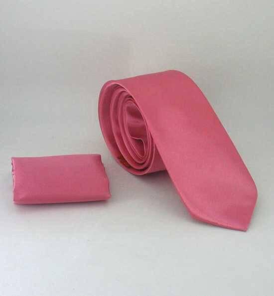 Plain Pink Satin Handkerchief Slim Fit Tie