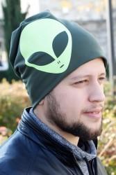 Yeşil Renk Alien Figürlü Erkek Bere - Thumbnail