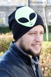 Yeşil Renk Alien Figürlü Siyah Erkek Bere - Thumbnail
